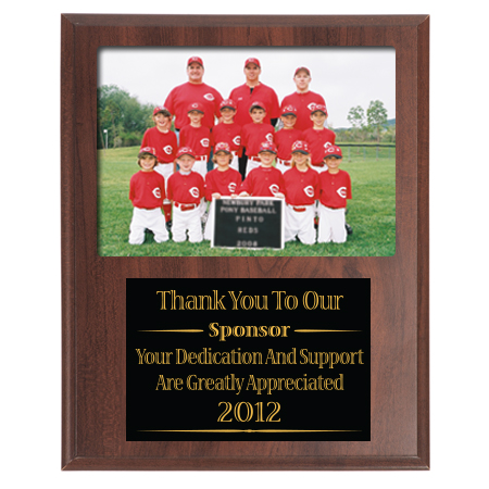 9x11 slotted sponsor coach appreciation plaque for 7x5 group photo
